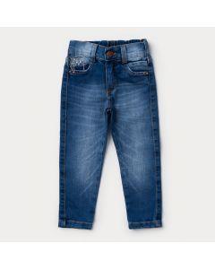 Calça Jeans Infantil Feminina Azul Claro Gatinho com Elástico na Cintura