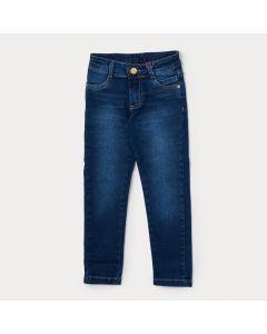 Calça Jeans Infantil Feminina Azul com Bolso Bordado