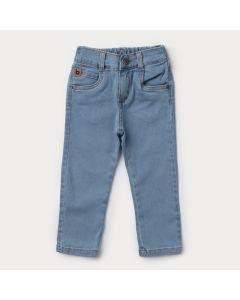 Calça Jeans Infantil Masculina Azul Claro com Elástico na Cintura