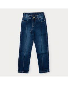 Calça Jeans Infantil Feminina Azul Escuro Com Regulador Interno