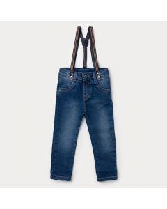 Calça Jeans Infantil para Menino Azul Escuro com  Suspensório