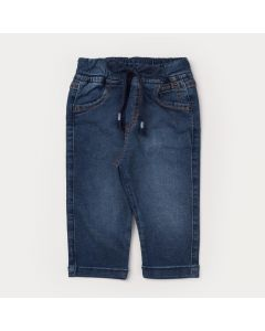 Calça Jeans Azul para Menino com Cadarço na Cintura