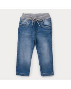 Calça Jeans Infantil Masculina Azul Claro com Cós de Ribana