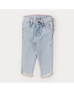 Calça Jeans Skinny Azul Claro para Bebê Menina com Barra Desfiada