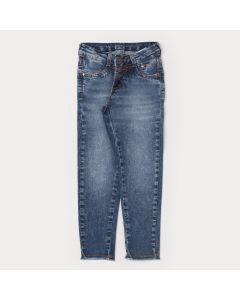 Calça Jeans Skinny Infantil Feminina com Barra Desfiada