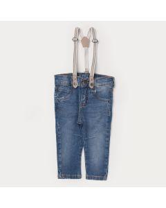 Calça Jeans para Bebê Menino Com Suspensório