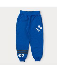 Calça Jogger de Moletom Azul para Menino Estampada
