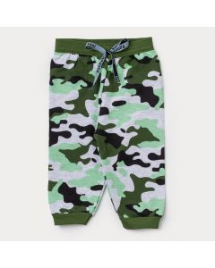 Calça de Moletom para Bebê Menino Jogger Camuflada Verde
