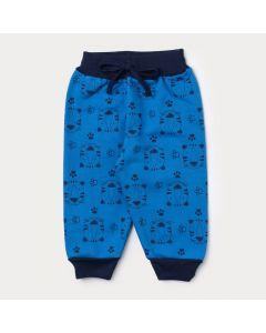 Calça de Moletom Bebê Menino Azul Estampada