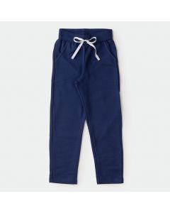 Calça de Moletom para Menina Azul Marinho com Bolso