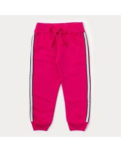 Calça de Moletom Infantil Feminina Pink com Listra