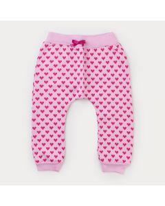 Calça de Moletom Rosa com Estampa de Coração Pink para Menina