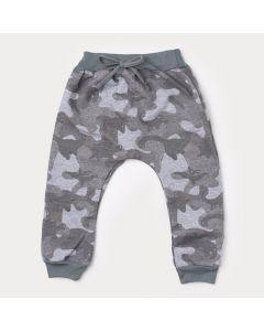 Calça de Moletom Masculina Infantil Cinza Militar