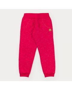 Calça Básica em Moletom Pink Infantil Feminina