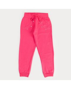 Calça de Moletom Pink Infantil Feminina com Strass
