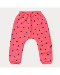 Calça em Saruel Moletom Pink Coração para Bebê Menina