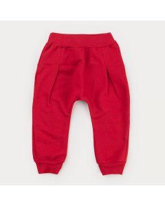 Calça de Moletom Vermelha para Bebê Menina Cachorrinho