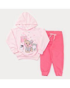 Conjunto de Frio para Menina Casaco com Capuz Rosa Cachorrinho e Calça Pink