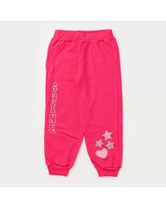 Calça Infantil Feminina em Moletom Pink Estampada