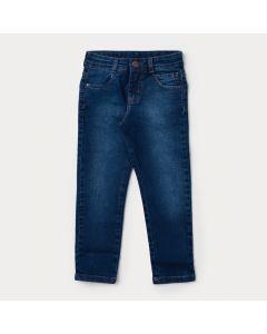 Calça Jeans Skinny Infantil Masculina Azul Escuro com Bolsos