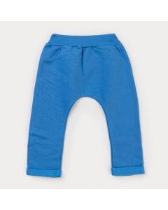 Calça em Moletom Azul para Menino com Estampa de Cachorro