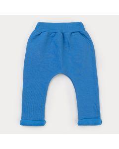 Calça em Moletom Azul para Bebê Menino Cachorrinho