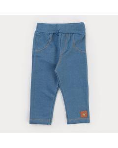 Legging em Cotton Jeans Azul Infantil Feminina