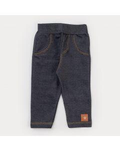 Legging em Cotton Jeans Preto Infantil Feminina