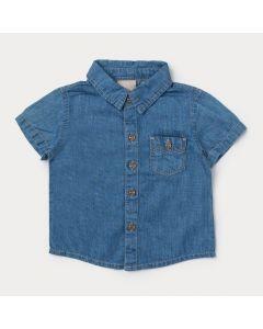 Camiseta Jeans Azul para Bebê Menino com Botão e Bolso