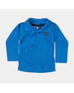 Camiseta Gola Polo Manga Longa Bebê Menino Azul