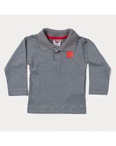 Camiseta Gola Polo Manga Longa Bebê Menino Cinza