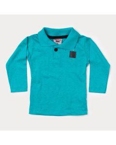 Camiseta Manga Longa Bebê Menino Gola Polo Verde