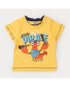 Blusa de Verão Amarela Bebê Menino Pirata