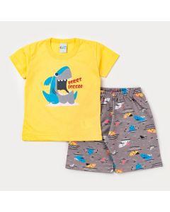 Conjunto Curto para Menino Blusa Amarela Tubarão e Short Cinza Estampado