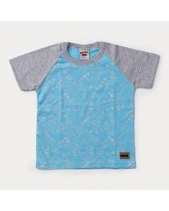 Camiseta Infantil Masculina Azul Dinossauro