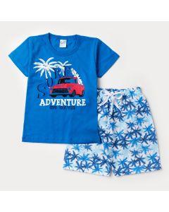 Conjunto de Verão Infantil Masculino Blusa Azul estampada e Short Azul