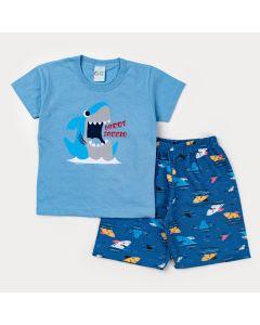 Conjunto de Verão para Menino Blusa Azul Tubarão e Short Marinho Estampado