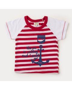 Camiseta Branca com Listras Vermelha Estampada para Bebê Menino