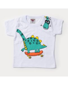Camiseta Verão Bebê Menino Dinossauro Branco