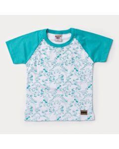 Camiseta Infantil Masculina Branca Dinossauro