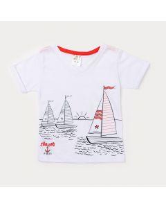 Camiseta Infantil Masculina Branca com Estampa de Barco