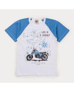 Camiseta de Verão Branca Moto Infantil Masculina
