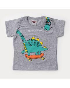 Camiseta Verão Bebê Menino Dinossauro Cinza