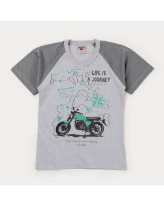 Camiseta de Verão Cinza Moto Infantil Masculina