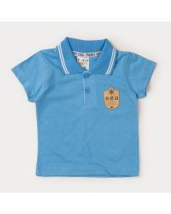 Camiseta Gola Polo Azul com Aplique
