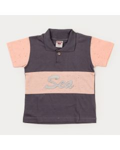 Camiseta Chumbo Gola Polo Infantil Menino