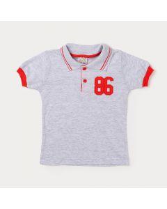 Camiseta Gola Polo de Menino Cinza com Botão