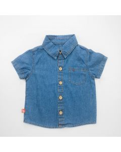 Camisa Social Jeans para Bebê Menino com Gola Polo