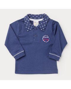 Camiseta Gola Polo Marinho para Bebê Menino