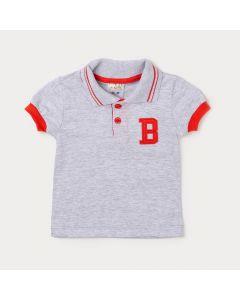 Camiseta Gola Polo Menino Bebê Cinza com Aplique